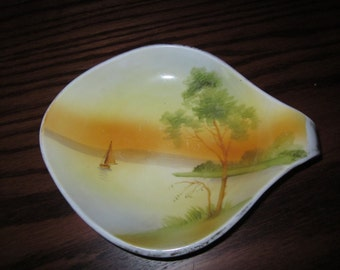 Vintage Hand Painted Nippon Spoon Rest Showing a Gorgeous Water Scene with Sunset
