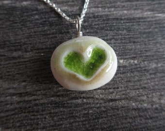 Green Heart Love Pebble ~ porcelain pendant on sterling chain