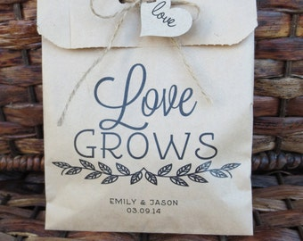 LOVE GROWS Seed or plant paper bag. 20 Paper Favor Bags