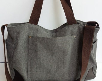 Gray  Shoulder bag/Messenger bag/Diaper bag/Tote bag/Crossbody bag