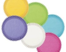 Bright Rainbow Wilton Multi-Colored Standard Cupcake Liners Baking Cups Muffin Cups yellow blue pink white green purple cupcake liners