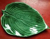 Porcelain Hosta leaf Serving Tray glazed in Summer Green