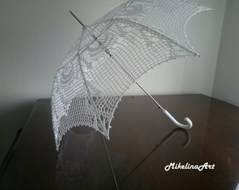 Crochet Handmade Umbrella, Summer Wedding, Snow White, 100% Cotton