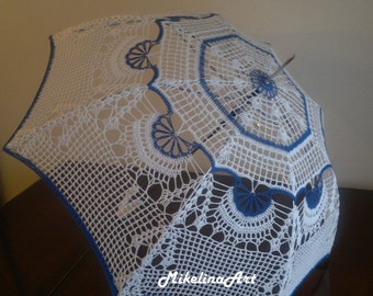 Crochet Handmade Umbrella, Summer Wedding, White & Blue, 100% Cotton