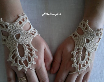 Crochet Mittens, Fingerless Gloves,Crochet Bracelet, Ivory, 100% Cotton.