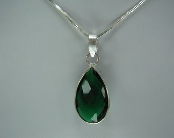Christmas Sale,  Green Emerald Pendant with Chain, May Birthstone