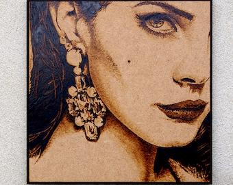 Lana Del Rey inspired pyrography art