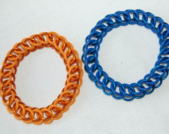 Portal inspired blue and orange stretchy chainmaille bracelets