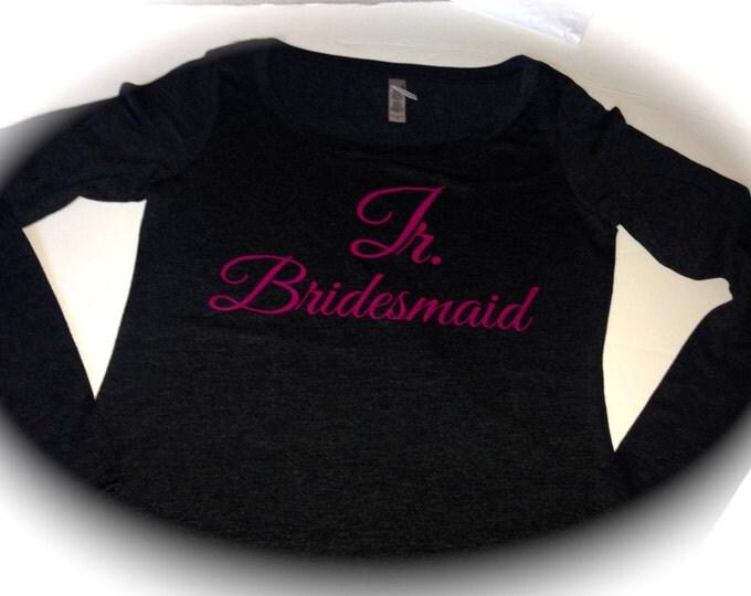 Junior Bridesmaid Long Sleeve T-Shirt. Wedding Party Shirts. Eco Soft Wide Neck Bridesmaid Shirts. Small, Medium, Large, XL, XXL. Bride