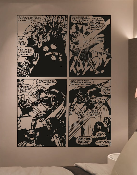 Giant marvel comics thor loki comic vinyl wall by hallofheroes - Marvel comics decor ...