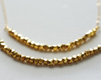 Gold Nugget Layer Necklace - 14k gold Vermeil Nuggets,Gold Layer Necklace,gold bead necklace,dainty bead necklace,gold layering necklace
