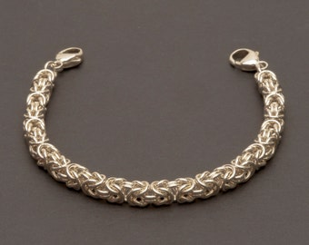 Medical Alert Bracelet, Classic Byzantine Weave, 1/10 Silver Filled Jump Rings, Interchangeable  (MB15)