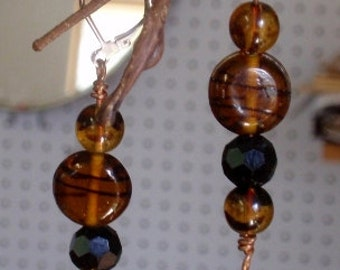 Czech glass beads with opaque black crystals make a tailored drop earring.  Silver lever back earwires.