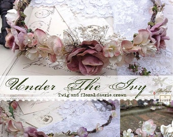 Beautiful twig and floral faerie crown