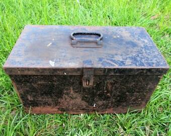 Vintage Metal Tool Box industrial