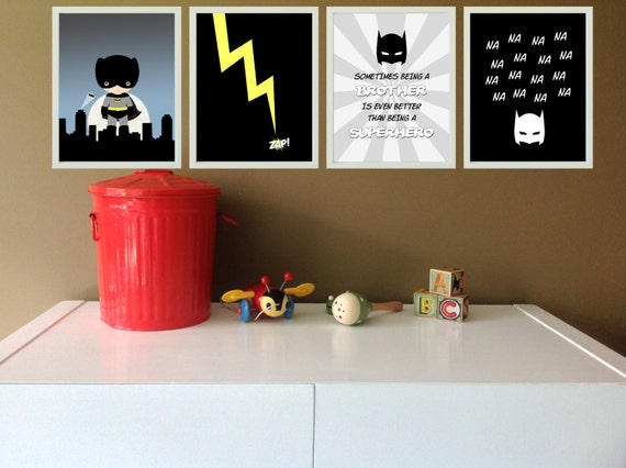 Superhero wall prints set of 4 batman bedroom by for 8x10 bedroom ideas