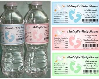 30 Personalized Baby Shower WATER BOTTLE LABELS ~ Glossy ~ Waterproof Ink