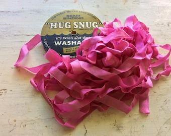Pink Vintage Seam Binding Ribbon, Woven Edge Rayon, Sewing Supplies, Gift Ribbon