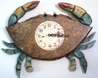 Crab Clock...a welcome addition to any nautical motiff! Nothing to be Crabby about with this Clock!