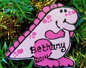 U CHOOSE Name & Date Personalized Pink DINOSAUR ORNAMENT Christmas Holiday Name Kids Handpainted Handcrafted Wood