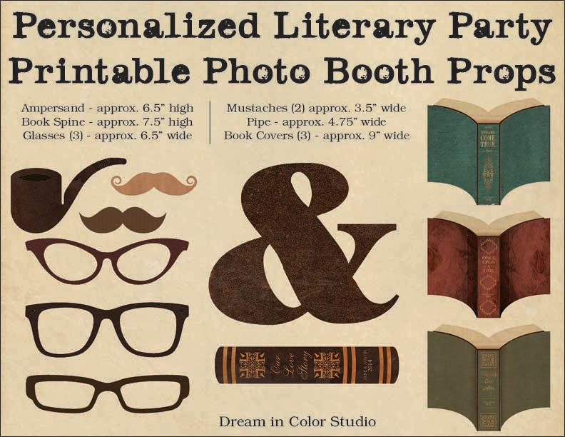Book Cover Photography Prop : Personalized photo booth props for literary wedding or party