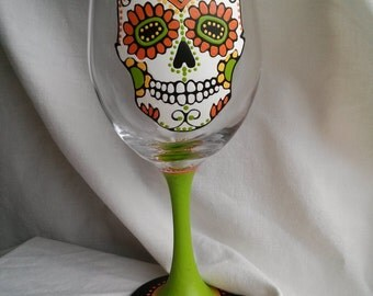 Sugar Skull Hand Painted Wine Glass Dia De Los Muertos Day Of The Dead Green Yellow Orange