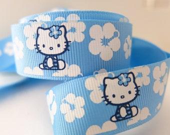 "7/8"" (22mm) Blue Hello Kitty Printed Grosgrain Ribbon  GR011"