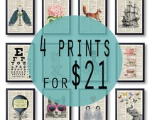 Sale 4 Wall Art Prints , BOGO Sale dictioanry art print, old page paper buy 3 get 1 free, wall decor