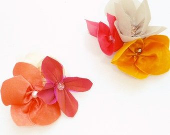 Silk Flower Shoe Clips - Bridesmaids Colourful Floral Accessory