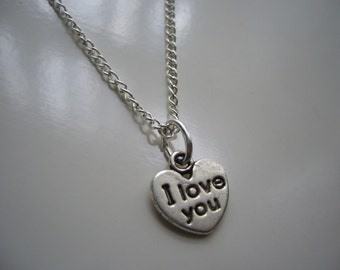 I Love You- Heart Necklace - Antique Silver Necklace - Miniature Heart Necklace - I Love You-  Heart Necklace Pendant Charm - Nickel Free
