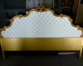 Hollywood Glam! Regency Gold King Size Headboard White Button Tufted Pleather.  Wood carved.