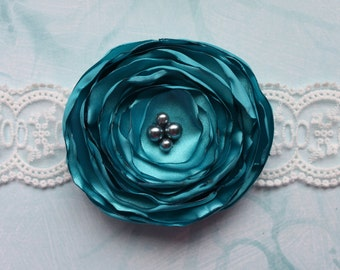 Turquoise Satin Rose Hair Flower with Singed Edges and Beading on a Clip