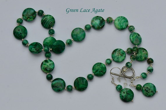 Items similar to Green lace agate with sterling silver ...