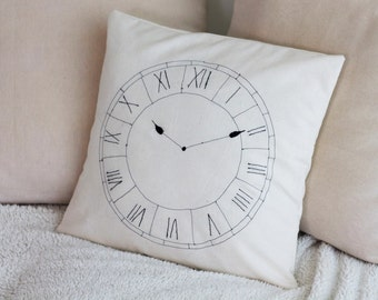 Embroidered Clock Pillow/Decorative Throw Pillow Cover/Embroidered Cushion/Clock Home Decor/Housewares