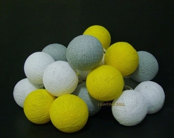 20 Mixed Gray Yellow cotton ball string lights for Patio,Wedding,Party