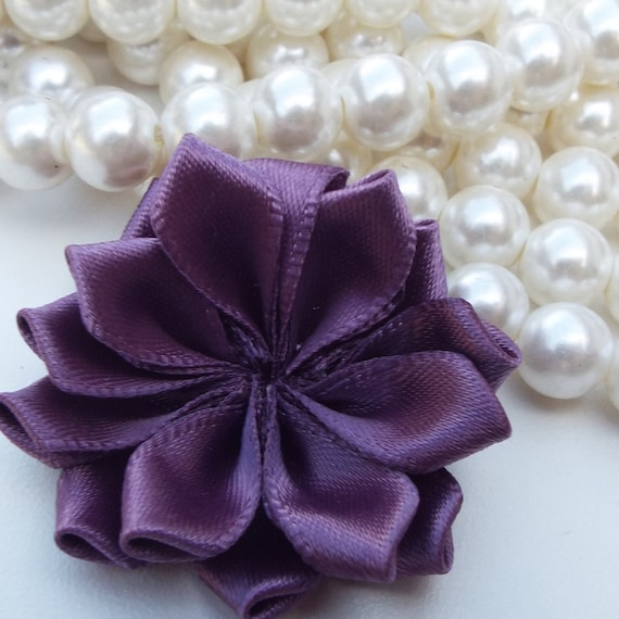 Dark Purple Satin Ribbon Poinsettia Fabric Flowers - Wholesale Supplies - Wedding Decorations, Baby Headbands, Handbag Accessories & more!