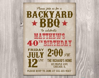 BBQ Birthday Invitation - BBQ Party Invitation - Picnic Invitation - Picnic Birthday Party Invitation - Summer BBQ Invitation