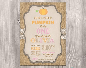 Fall Birthday Invitation - Pumpkin Birthday Invitation - Printable Fall Invitation - Vintage Fall Invitation - Pink Fall Invitation