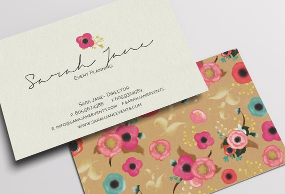 New colors personalized floral business card vistaprint for Etsy shop business cards