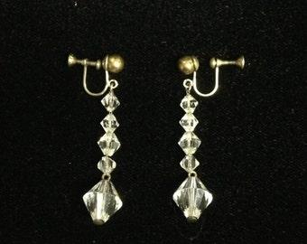 Vintage 60s austrian crystal screw back earrings