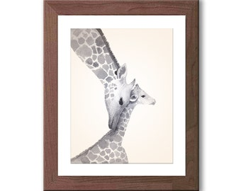 Giraffe Nursery Art - Gray Nursery Decor - Momma and Baby Giraffe - Watercolor Nursery Art - Neutral Gender - Giraffe Painting - G601