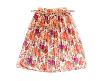 Vintage Women's White Peach Pink Pleated Stretchy High Waist Skirt with Flower Ornaments and Belt