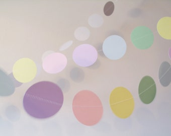 "Pastel Easter Garland 2"" circle paper garland custom Easter decoration, Ecco party baby shower decoration shower decoration wedding garland"