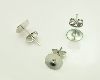 White K Earring Post:  8mm Nickel Free Tone White K Earring Post With Stopper Nut,Qty 100pcs(50 pairs).