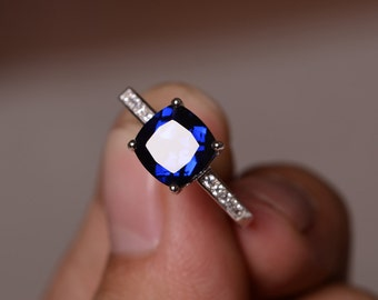 Lab Sapphire Ring September Birthstone Blue Gemstone Ring Sterling Silver 925