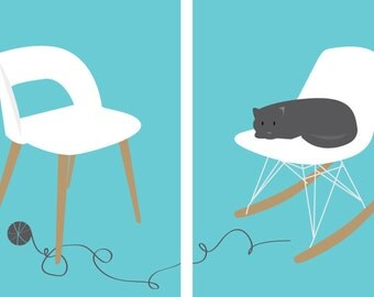 Set Of 2, 5X7 Printable Wall Art, Mid Century Modern Chairs, Instant Download, in Teal