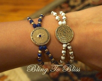 hamsa evil eye bracelet with rhinestone, double sided, round pendant, jewelry, accessories