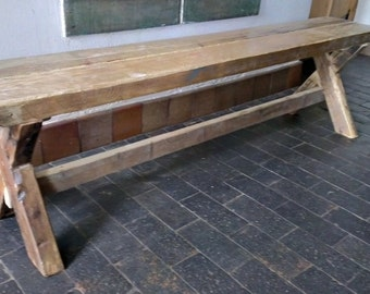 Industrial Style Reclaimed Wood Demolition Bench