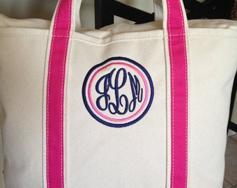 Great Gift for her / Holiday Gift / Christmas Gift Personalized canvas tote bag Monogrammed canvas tote bag zipper -
