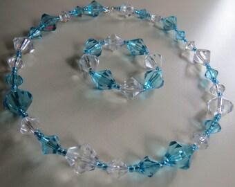 Aqua Necklace and Bracelet, Womans Necklace and Bracelet, Jewelry, Womans Jewelry, Beaded Necklace Set, Necklace and Bracelet, Bead Necklace